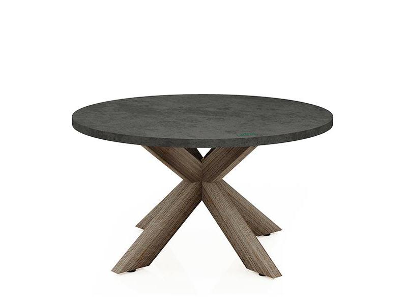 Bàn Fiber tự nhiên tròn chân gỗ tràm chữ X1/4