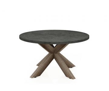 Bàn Fiber tự nhiên tròn chân gỗ tràm chữ X