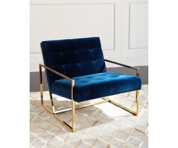 Sofa Đơn Bọc Vải Chân Mạ Đồng Vàng Bóng Cao Cấp