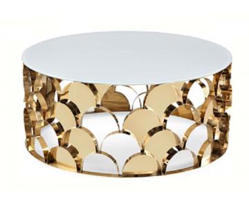 Bàn sofa tròn Inox mạ vàng