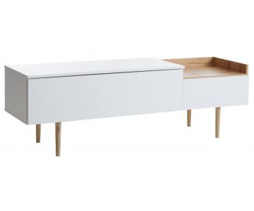Kệ TV AARUP 2 ngăn kéo, gỗ công nghiệp màu trắng/ chân sồi