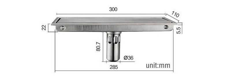 Phễu Thu Sàn Inox Dập 304 Cao Cấp Nhập Khẩu dài 300mm7/9