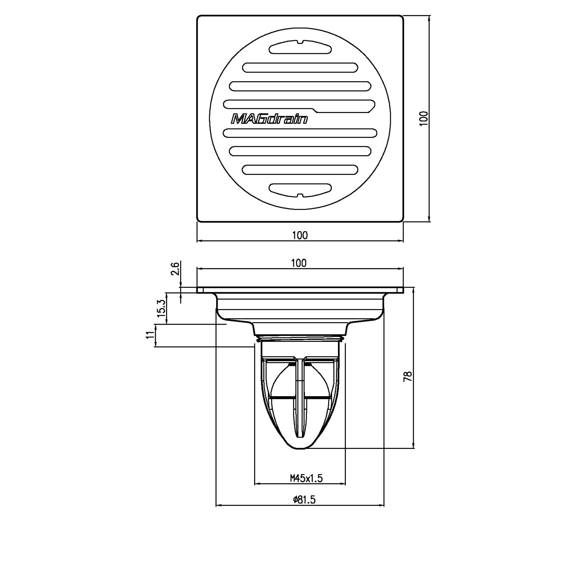Phễu thoát sàn chống mùi inox304 mờ Magdrain PC30Q3-B9/12