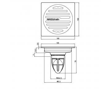 Phễu thoát sàn chống mùi inox304 mờ Magdrain PC30Q3-B