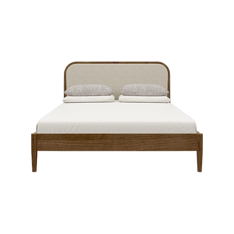 Giường gỗ tự nhiên orbit walnut bọc vải đầu giường 160cm1/3