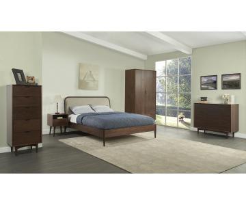 Giường gỗ tự nhiên orbit walnut bọc vải đầu giường 160cm3/3