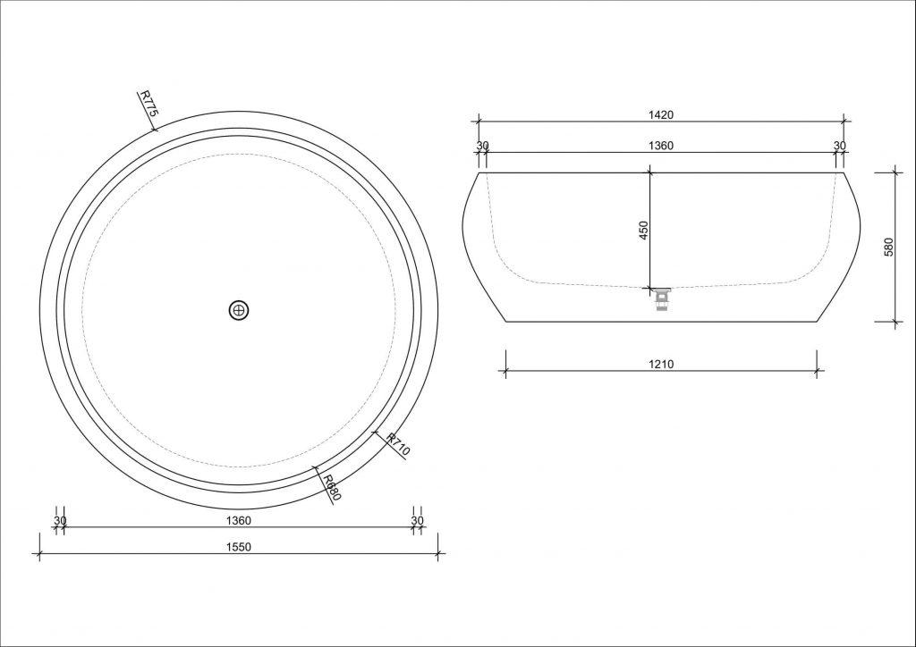 Bồn tắm tròn độc lập đá nhân tạo DR092/2