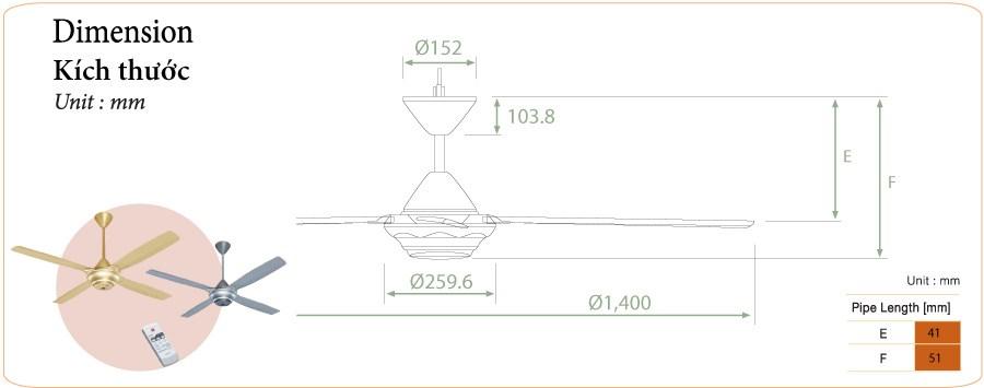 Quạt trần điều khiển từ xa M56XR4/4