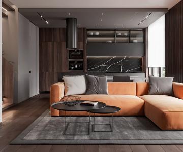 Thiết kế nội thất Penthouse với điểm nhấn màu cam
