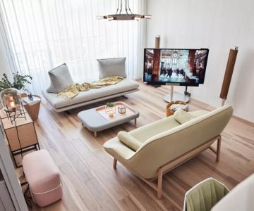 Căn hộ phong cách đương đại có nội thất màu pastel nhẹ nhàng