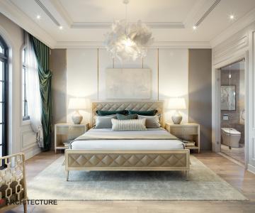 Phòng ngủ cổ điển sang trọng với nội thất Caracole