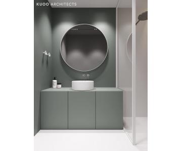 Gương tròn bọc da cacbon