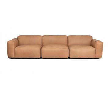 Ghế Sofa bọc da gỗ tự nhiên 3 chỗ ngồi Sketch