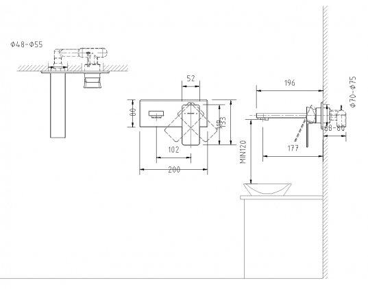 Vòi lavabo âm tường P69183C-ENG6/6