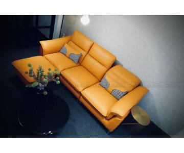 VB9 - Set Sofa 3 chỗ kèm ghế đôn KEVA 50% da bò thuộc Italia