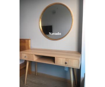 Gương tròn vành gỗ vàng 60cm2/3