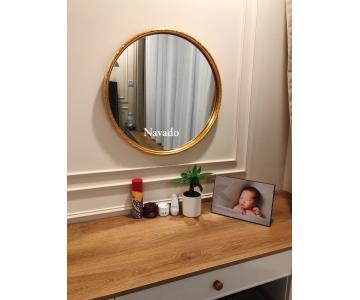 Gương tròn vành gỗ vàng 60cm