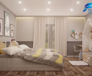 Mẫu thiết kế phòng ngủ ngọt ngào dễ thương, điệu đà phù hợp với các bé gái