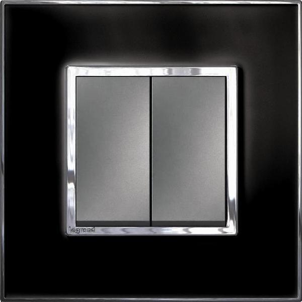 Bộ công tắc đôi 1  chiều - 10A - Mặt kính , màu đen1/1