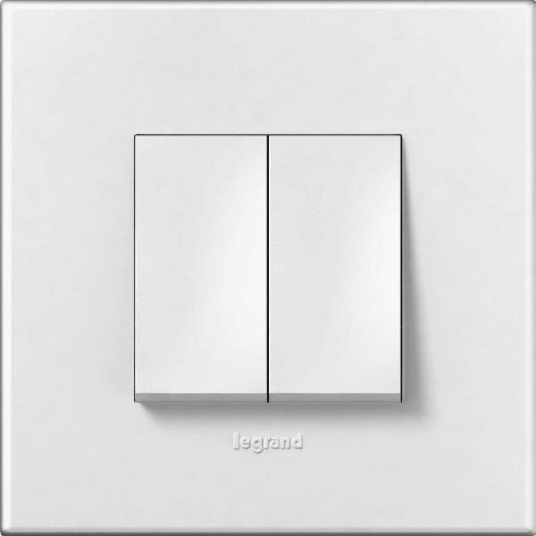 Bộ công tắc đôi 1  chiều - 10A - Mặt nhựa , màu trắng1/1