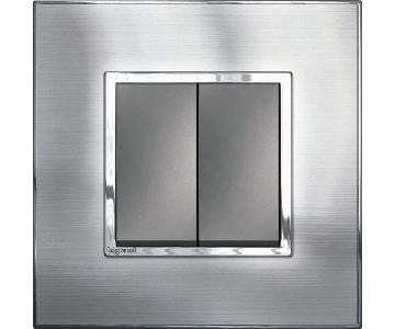 Bộ công tắc đôi 1  chiều - 10A - Mặt thép không gỉ , màu trắng