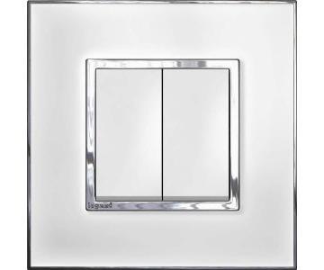 Bộ công tắc đôi 1  chiều - 10A - Mặt kính , màu trắng
