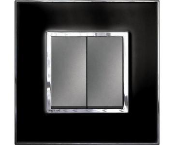 Bộ công tắc đôi 1  chiều - 10A - Mặt kính , màu đen