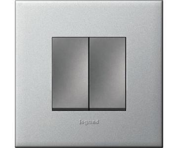 Bộ công tắc đôi 1  chiều - 10A - Mặt nhựa , màu xám